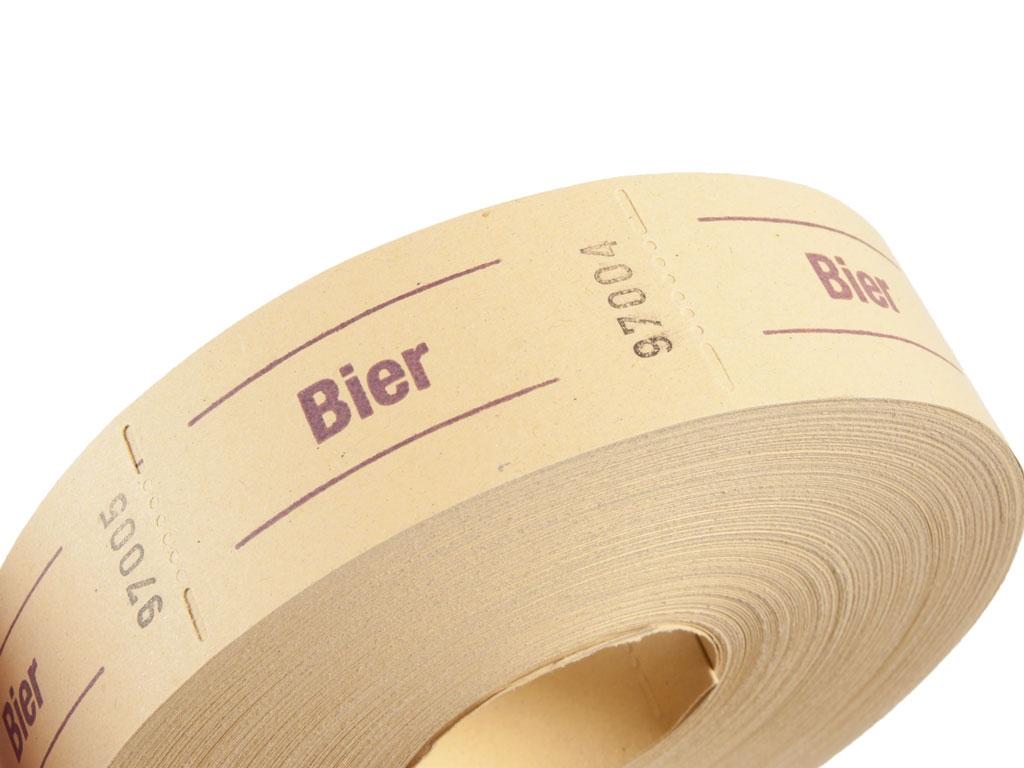 """1000 Stück gelb Aufdruck: /""""Bier/"""" Wertmarken Biermarken Getränkemarken"""