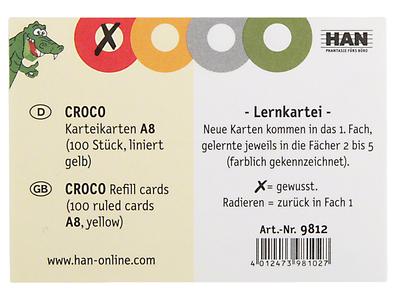 100 HAN Karteikarten A8 gelb liniert